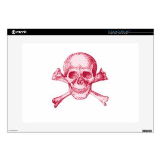"Skull and Cross Bones Red 15"" Laptop Skin"