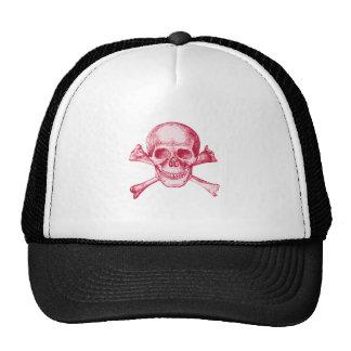 Skull and Cross Bones - Red Trucker Hat