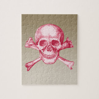 Skull and Cross Bones Red Jigsaw Puzzle