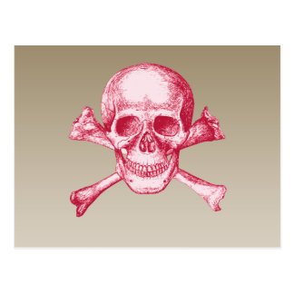 Skull and Cross Bones Red Postcard
