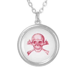 Skull and Cross Bones Red Round Pendant Necklace