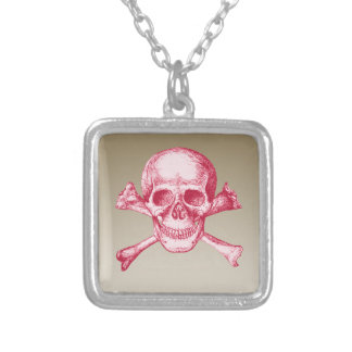 Skull and Cross Bones Red Square Pendant Necklace