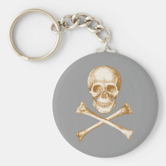 Skull and Cross Bones - Sepia Basic Round Button Keychain