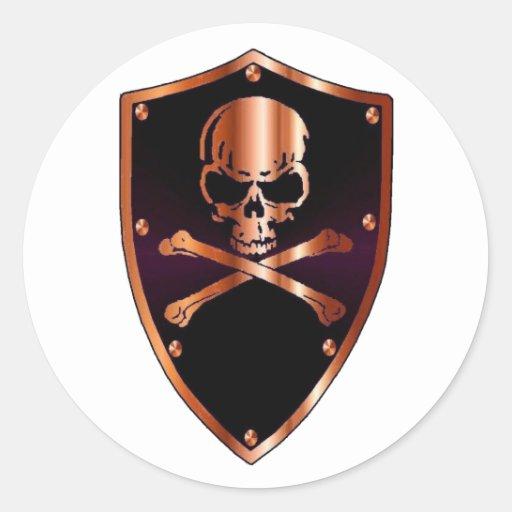 Skull and cross bones shield classic round sticker