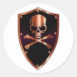 Skull and cross bones shield round stickers