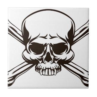 Skull and Cross Bones Sign Ceramic Tile