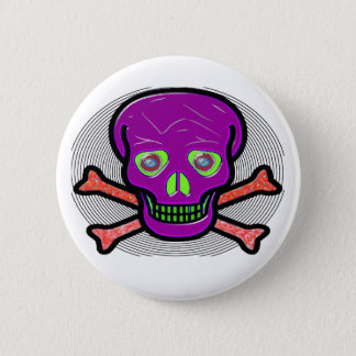 SKULL AND CROSS BONES ~ SPIRAL BUTTON