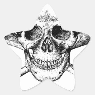 Skull and Cross Bones Star Sticker