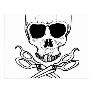 skull-and-cross-shears postcard