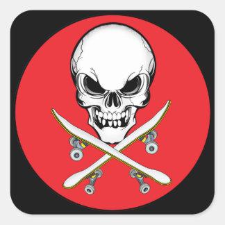 Skull and Cross Skateboards Red/Black  Sticker