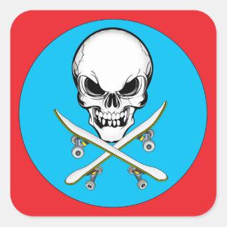 Skull and Cross Skateboards Red/Blue  Sticker