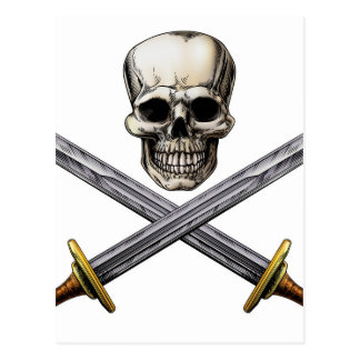 Skull and Cross Swords Pirate Sign Postcard