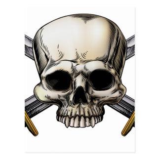 Skull and Cross Swords Sign Postcard