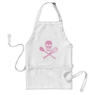 Skull and Cross Whisk Pink Adult Apron