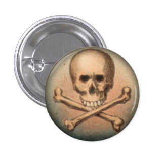 Skull and Crossbones 1 Inch Round Button