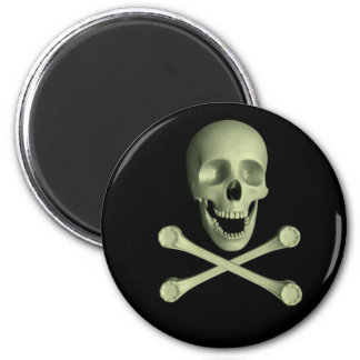 Skull and Crossbones 2 Inch Round Magnet
