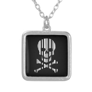 SKULL AND CROSSBONES BAR CODE Poison Barcode Silver Plated Necklace