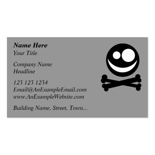 Skull and Crossbones. Black and White. Business Card Template
