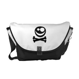 Skull and Crossbones. Black and White. Commuter Bags