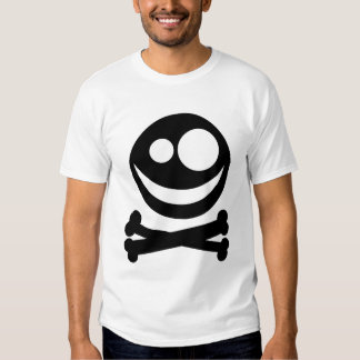 Skull and Crossbones. Black and White. T-Shirt