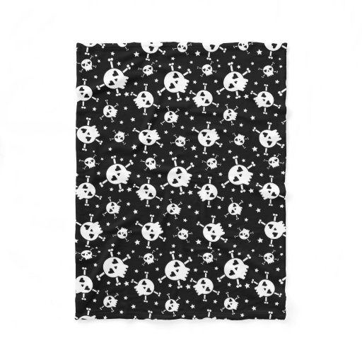 Skull and Crossbones Black Sherpa Fleece Blanket