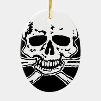 skull and crossbones. ceramic ornament