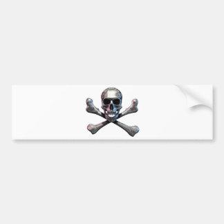 Skull and Crossbones Chrome Bumper Sticker