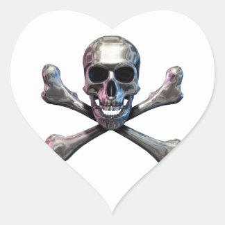 Skull and Crossbones Chrome Heart Sticker