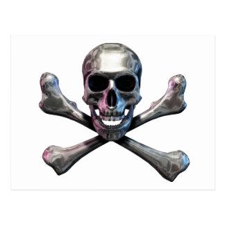 Skull and Crossbones Chrome Post Card