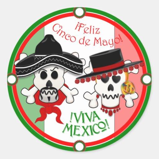 Skull and Crossbones Cinco de Mayo sticker