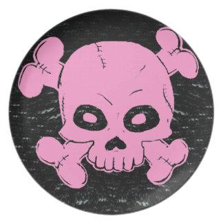 Skull and Crossbones Custom Color Melamine Plate