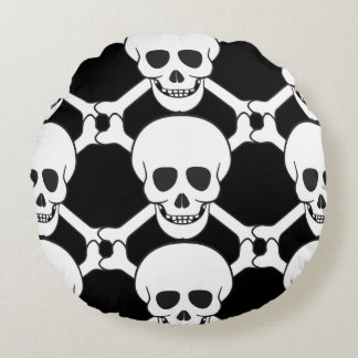 Skull and Crossbones Custom Round Throw Pillow