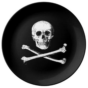 Halloween Themed Skull and crossbones decorative plate