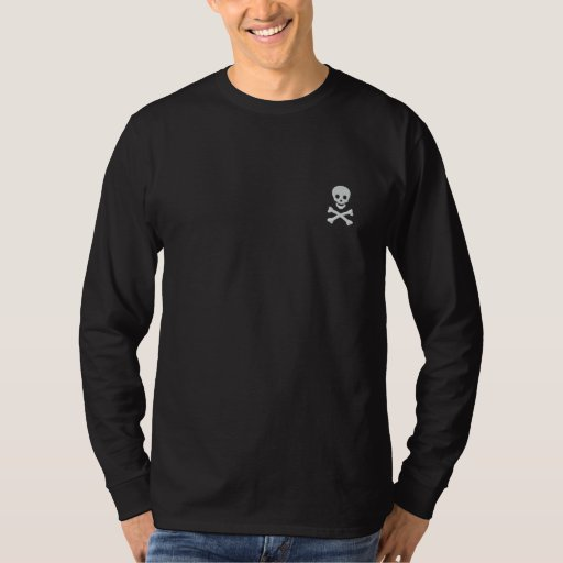 Skull and Crossbones Embroidered Long Sleeve T-Shirt