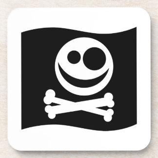Skull and Crossbones Flag. Black and White. Beverage Coaster