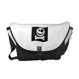 Skull and Crossbones Flag. Black and White. Courier Bag
