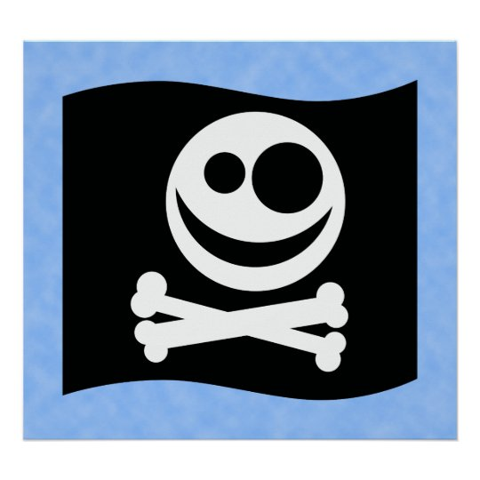 Skull and Crossbones Flag. Black and White. Poster