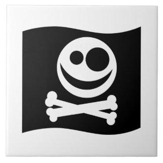 Skull and Crossbones Flag. Black and White. Ceramic Tiles