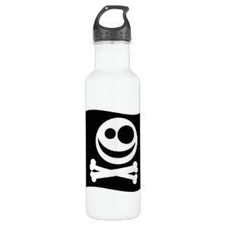 Skull and Crossbones Flag. Black and White. Water Bottle