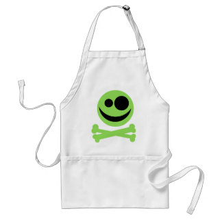 Skull and Crossbones Green and Black Aprons
