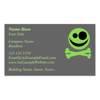 Skull and Crossbones. Green and Black. Double-Sided Standard Business Cards (Pack Of 100)