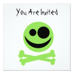 Skull and Crossbones. Green and Black. 5.25x5.25 Square Paper Invitation Card