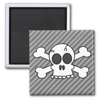 Skull and Crossbones Grey Stripes Magnet