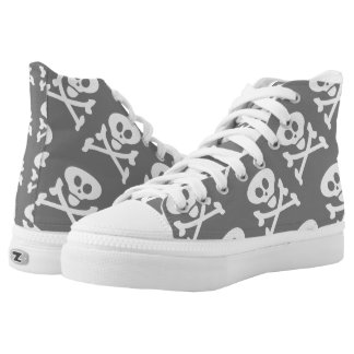 Skull and Crossbones Grey White High-Top Sneakers