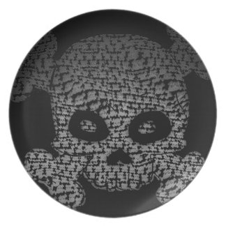 Skull and Crossbones Greyscale Fade Design Melamine Plate
