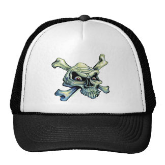 Skull and Crossbones-hat (black) Trucker Hat