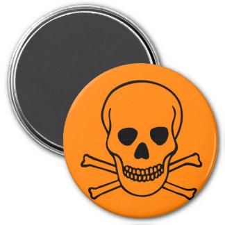 Skull and Crossbones Hazard 3 Inch Round Magnet