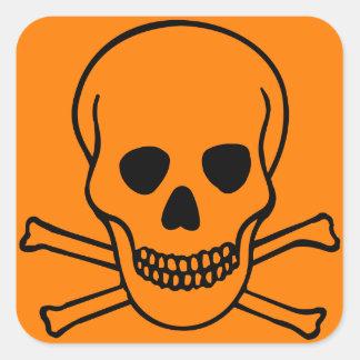 Skull and Crossbones Hazard Square Sticker