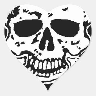 skull and crossbones. heart sticker