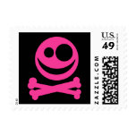 Skull and Crossbones. Hot Pink and Black. Postage Stamp